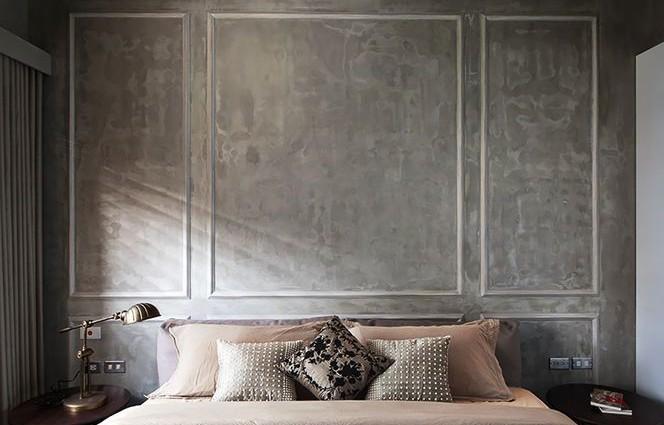 parede-de-concreto-com-moldura-branca