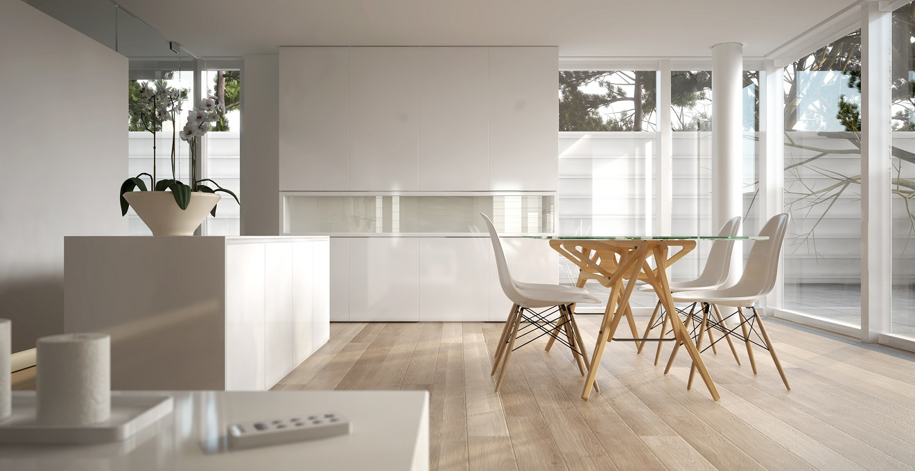 White modern interior with table and chairs