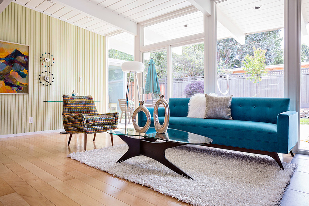 couch-back-table-Living-Room-Midcentury-with-beadboard-wall-blue-sofa