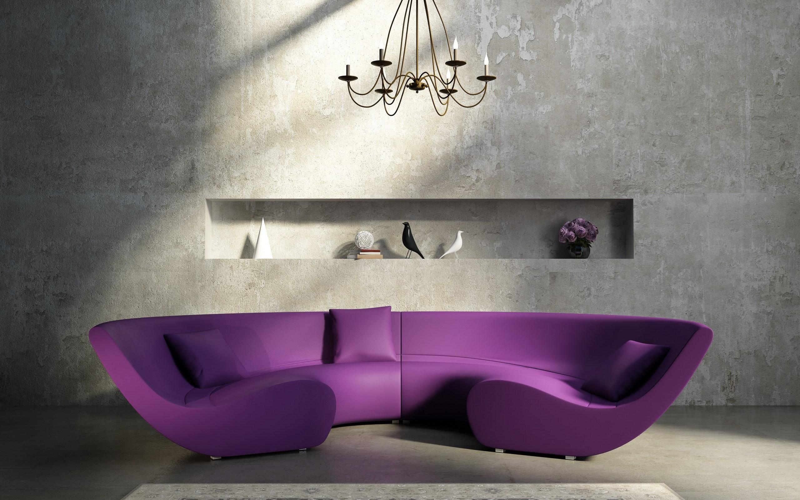 interior-half-round-purple-leather-sofa-and-square-cushions-on-grey-floor-added-by-black-chandelier-on-ceiling-entrancing-purple-leather-sofa-to-your-modern-living-room-ideas